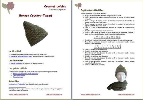 Explication du modèle gratuit de   bonnet Country-Tweed à télécharger