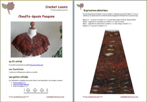 Explication du modèle gratuit de   chauffe-épaule Pasquine  à télécharger