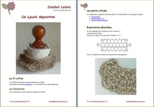 Explication du modèle gratuit de  col amovible Alpacotton à télécharger