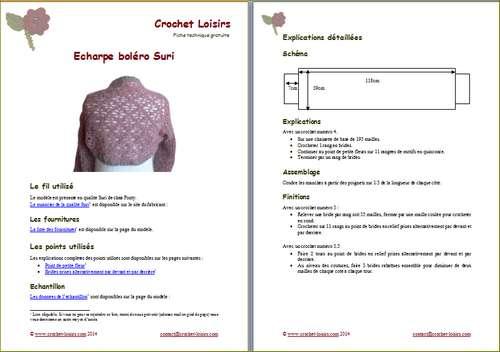 Explication du modèle gratuit de   écharpe-boléro Suri à télécharger