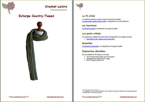 Explication du modèle gratuit de   écharpe Country-Tweed à télécharger