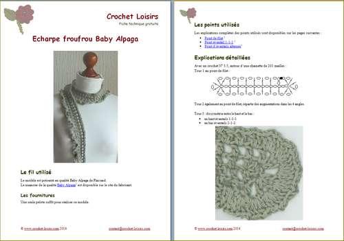 Explication du modèle gratuit de  Echarpe frou-frou Alpaga à télécharger