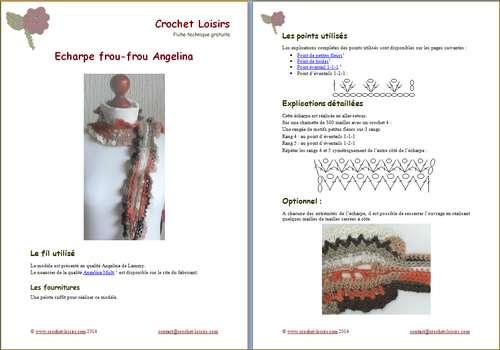 Explication du modèle gratuit de   écharpe frou-frou Angelina à télécharger