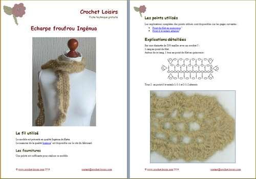 Explication du modèle gratuit de  Echarpe froufrou Ingenua à télécharger