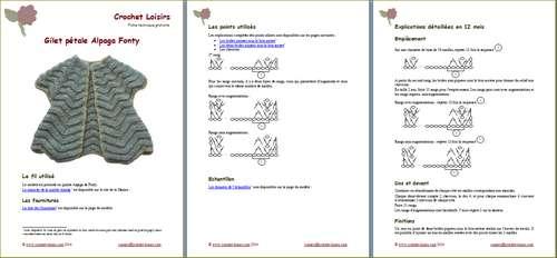 Explication du modèle gratuit de   gilet pétale Alpaga Fonty à télécharger