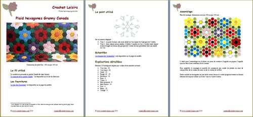 Explication du modèle gratuit de   plaid hexagones Granny Canada à télécharger