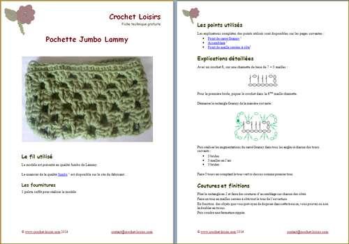 Explication du modèle gratuit de  Pochette Jumbo à télécharger