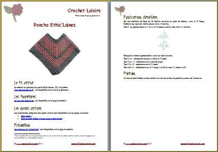 Explication du modèle gratuit de   poncho Ethic'Laines à télécharger
